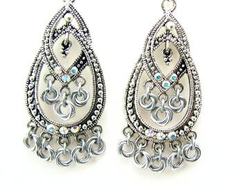 Micro Rosette Chandelier Earrings Silver and AB Crystal