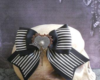 Steampunk hair bow watch hands gears on a stripe bow