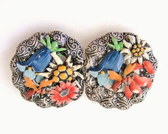 Vintage art deco Czech cold painted belt buckle flowers and bees