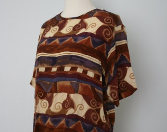 Vintage Shirt / 90's Silk Blouse / Boxy Shell / Medium / Geometric graphic tribal print / Brown, purple, cream, magenta / 1990's clothing