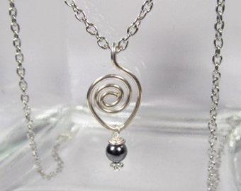 Sterling Silver Heart Pendant-Black-Sterling Silver Necklace-Heart