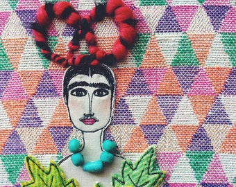 Frida Kahlo - wall hanging - hoop art - taken from a self portrait - ooak - textile art