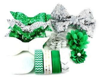 St. Patrick's Day Headband Kit - The Shamrock - St Patty's Day Headband, St. Patty's Day Baby Headband, Green Headband