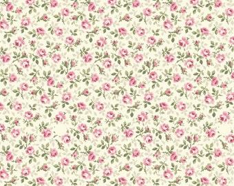Ruru Bouquet Prima - Quilt Gate USA tiny rosebuds in pink and rose calico print fabric RU2260-17A - cotton quilting fabric - choose your cut