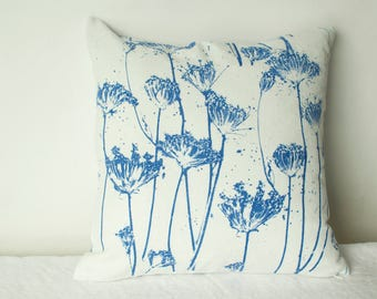 off white and periwinkle blue hand dyed and hand printed pillow with Queen Anne's lace 16""