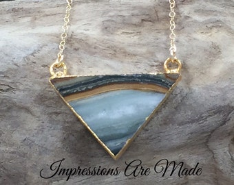 Triangle Necklace, Gold Triangle Necklace, Jasper Necklace, Jasper Triangle Necklace, Natural Stone Necklace, Gold Necklace