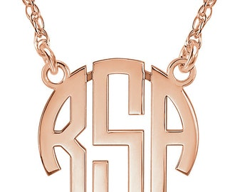 14k Gold Monogram Necklace - 3-Letter Block Font. Personalized Jewelry. Available in 14k Rose, Yellow, and White Gold. Family Jewelry