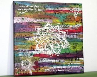 White Flower Mixed Media Canvas - Purple Red Yellow Green Turquoise - Bohemian Hippie Boho Chic Rainbow Indie Art Wall Hanging Home Decor