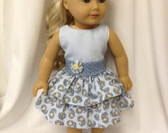 Dress Up for an American Girl Doll--Light Blue Bodice with Two Layers Skirt to fit An American Girl doll