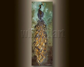 Original Peacock Oil Painting Textured Palette Knife Contemporary Modern Animal Art 12X36 by Willson Lau