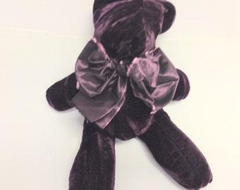 Rich Purple Velveteen Bean Bag Bear