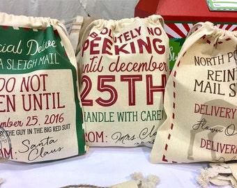 Christmas Bag, Christmas Gift Bag, Santa Sack, Small Santa Sack, Santa Bag, Christmas Packaging, Holiday Gift Bag, No Peeking Bag,