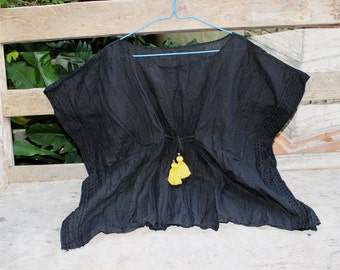 L-XL BLACK Loose Fit Cotton Blouse - Yellow Tufts