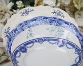 "Mismatched China Place Setting Plates Blue White Transfer Ware English 4 Sizes 9.5"" to 7.75"" Shabby Cottage Chic Wedding Shower 4 Pce"