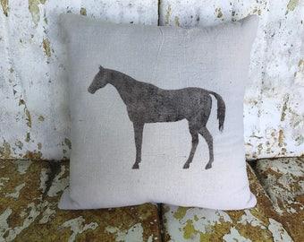 Farm HORSE Pillow / Square Cotton Farmhouse Style Vintage Printed Throw Pillow Farmhouse Cottage Rustic Home Decor