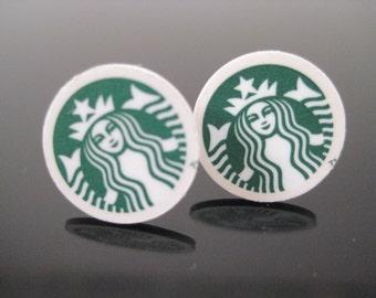 Starbucks White and Green Earrings