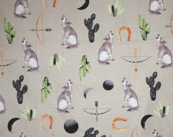 Delightful Desert Bloom Southwestern Print on Taupe Pure Cotton Fabric --By the Yard