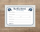 Elephant Predictions for Baby Cards, Navy & Grey Chevron Shower Activity, Guess Baby Weight, Baby Stats, DIY Printable, INSTANT DOWNLOAD