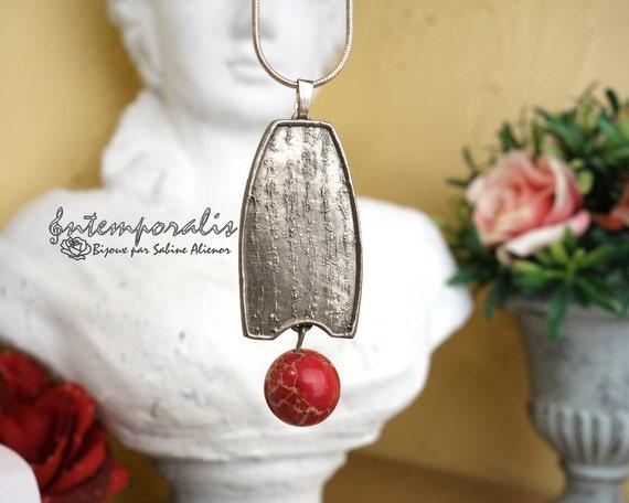 White bronze and red jasper bead chinese pendant, OOAK, SAPE09