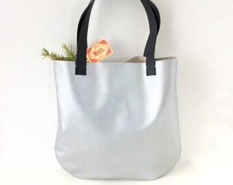 Large Silver Tote Bag with black handles, Silver bag, Minimalist bag, Metallic tote, Vegan leather tote, Shopper bag, Work bag, Laptop bag