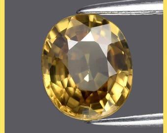 ZIRCON (34114) * * * * Fiery 7.3 x 6.2mm Glowing Zircon - Tanzania - Clean!