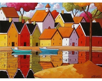 11x14 Large Folk Art Print, Town Harbor Water Reflections by Cathy Horvath, Scenic Landscape Coastal Village, Archival Artwork Reproduction