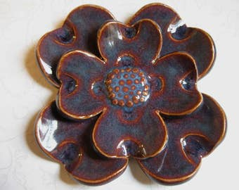 Dark Blue Raspberry Wine Ceramic Flower Wall Hanging