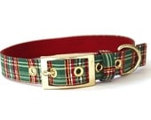 Christmas Dog Collar with Gold metal buckle - Red, Green, and Gold Metallic Plaid