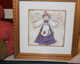 Gold Framed Folk Art Angel Picture