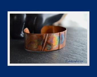 Fold Formed Copper Art Cuff, Heat Patina, Flame Painted Copper, Copper Cuff Bracelet, Industrial Bracelet,