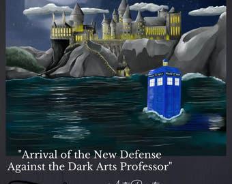 "Limited edition 11x14 signed print of digital artwork, ""Arrival of the New Defense Against the Dark Arts Professor"", fan art, mashup art"