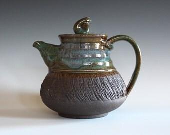 Pottery Teapot, 30 oz, Handmade Stoneware Teapot, Handmade Teapot, ceramics and pottery, pottery teapot, wheel thrown teapot by Kazem Arshi