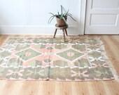 vintage kilim rug, muted colors rustic Turkish geometric rug, 4' x 5.8'