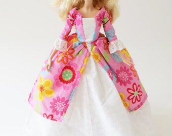Historic Colonial Barbie dress: Colorful Flowers on Pink