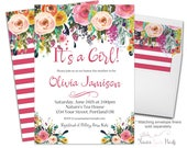 Girls Baby Shower Invitation - Baby Girl Invitation - Baby Shower Invitation Girl - Floral Baby Shower - Floral Baby Sprinkle - It's A Girl