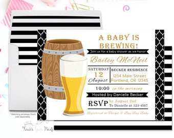 Coed Baby Shower Invitation, Baby Is Brewing Invitations, Gender Neutral Baby Shower, Baby Brewing Invite, Couples Shower, Beer Invitation