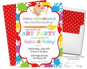 Art Party Invitation, Art Party Invite, Art Party, Art Birthday Invitation, Girls Art Party, Painting Party Invites, Printing Service
