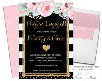 Couples Engagement Invitation - Bridal Shower Invitation - Wedding Shower - Engagement Invite - Black and White Striped Shower Invitation