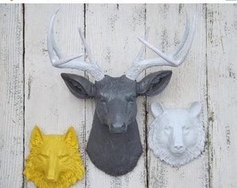 SPRING SALE Animal Head Trio~Deer Head~Wolf Head~Bear Head~Choice Color~Faux Animal Head~Faux Taxidermy