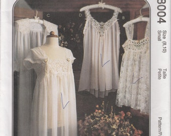 Nightgown Pattern Lace Teddy Pajamas Nightshirt Gown Misses Size 8 - 10 McCalls 8004