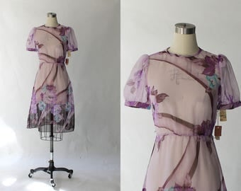 1980s Barbara Chodos Sheer Floral Dress // 80s Vintage Short Sleeve Back Button Blouse Dress // Deadstock // XS - Small