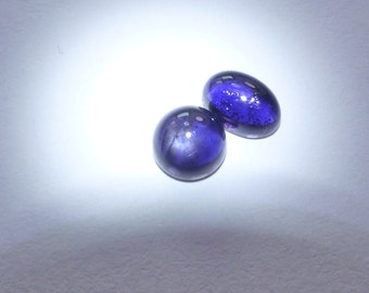 IOLite HIgh SHEEn GLoWING Cabochon.  Blue With Gray or Silver Internal Sheen 2 pc. 1.00 cts. 7x5 and mm (IO213)