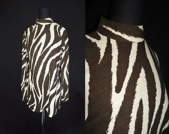ZEBRA Striped Rockabilly Vintage 1960's Women's BEATNIK Tunic Sweater M