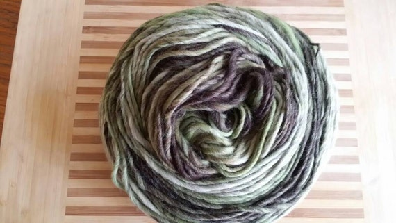 Super Chunky Merino Variegated Singles Yarn for Knitting, Crochet Colorway Lichen by Spinderellas Creations