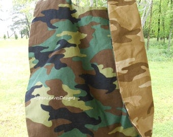 Reversible Mens Adult Bib,  feeding care accessories, Double camo, green and brown, Home healthcare aides