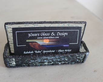 Business card holder, stained glass business card holder , glass business card holder, decorative glass business card holder, business cards