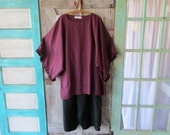 linen contemporary tunic dress caftan in wine ready to ship