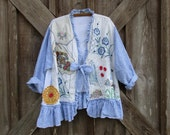 linen jacket one of a kind blue and white stripe linen and vintage linens with ruffles ready to ship