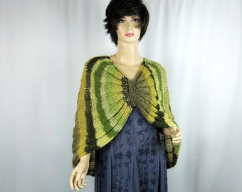Striped Capelet, Hand Knit, Green Tones, Natural Yarn Blends, Synthetic Yarns, Shoulderette, Shawl, Wrap, Poncho, Cozy Wrap, Circular Shape