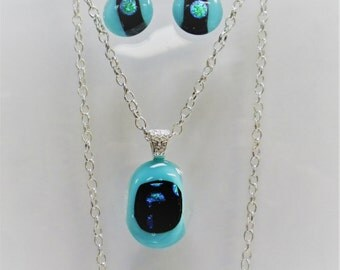 Turquoise Blue, Black and Dichroic Silver fused glass pendant with matching earrings